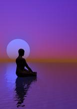 Meditatie en violet maan