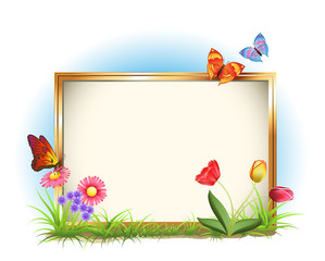 photo frame with spring flowers and butterflies