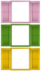 Finestre aperte in rosa, verde e giallo