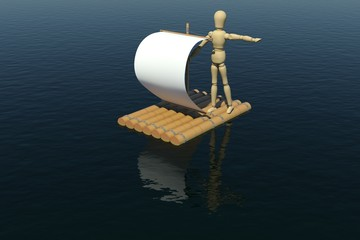 The wooden man floats on a raft with a white sail