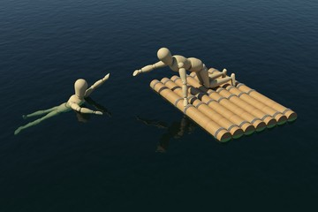 The wooden man on a raft pulled a drowning man's hand
