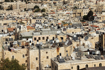 Background from the roofs of Old city of Jerusalem. West Bank. M