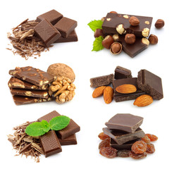 Collage of sweet chocolate