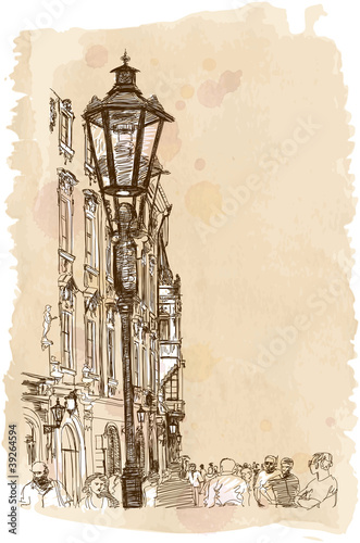 Urban view - Prague, Czech Republic - vector sketch
