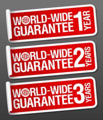 World-wide guarantee sale stickers