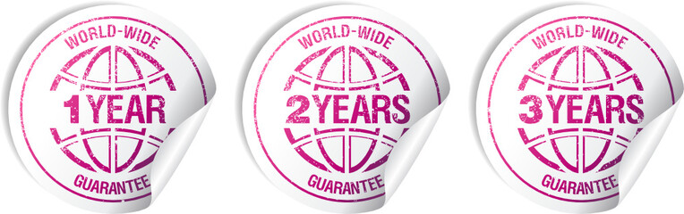 World-wide guarantee sale stickers