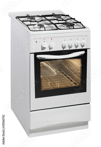 White free standing cooker isolated over white