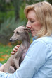 Woman holding dog.  Italian Greyhound