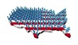 Rows of abstract people on USA map flag illustration