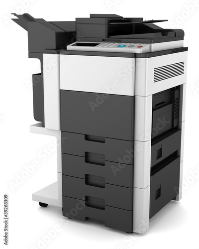 modern office multifunction printer isolated on white background