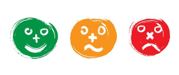 émoticones : rire, neutre, triste