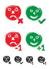 boutons enquête : j'aime, j'aime plus, +1, -1