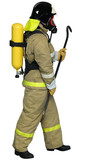 Firefighter breathing apparatus with a crowbar in his hand poster