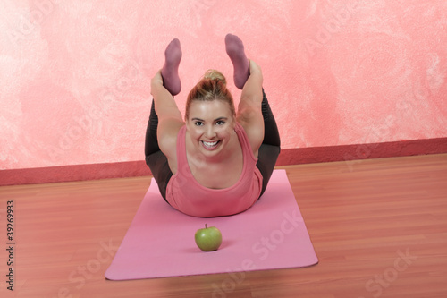 A pretty girl doing yoga