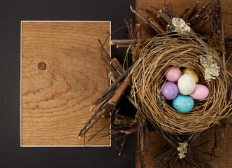 easter egg candy in a nest with a frame