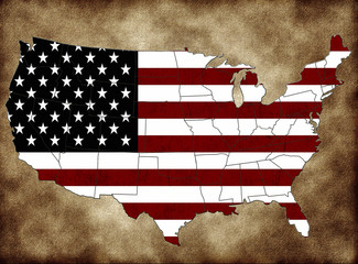USA map  with the flag and the states