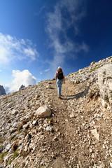 escursionista - hiker on Dolomites