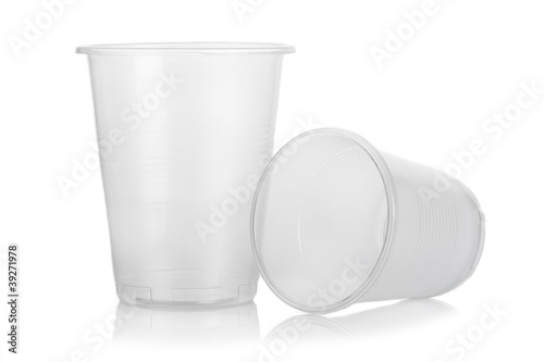 Two empty disposable plastic glass isolated on white background
