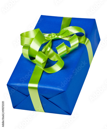 Blue box with green bow