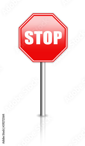 Glossy stop sign illustration