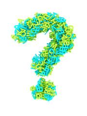 Buchstabe Fragezeichen Buchstabensalat 3D