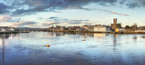 Panoramic view of Limerick City at dusk in Ireland.