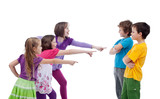Girls mocking boys - school bullying concept