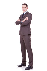businessman with arms crossed on white backgroun