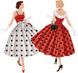 Two women in polka dots dresses inspect each other passing by