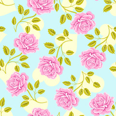 Seamless wallpaper pattern with roses and hearts