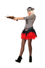 Amazing young blonde with guns