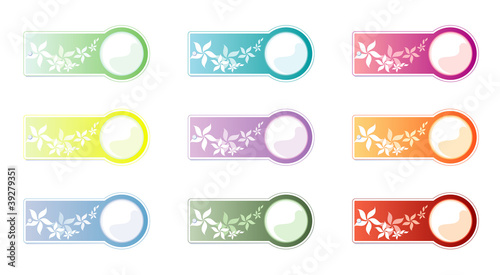 Set of labels, isolated on White background. Flowers