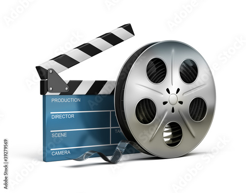 cinema clapper and film tape - 39279569