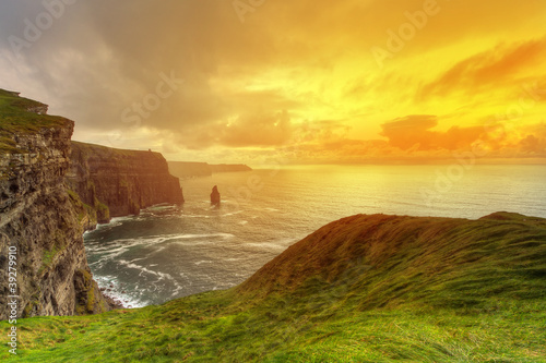 Idyllic Cliffs of Moher at sunset, Co. Clare, Ireland