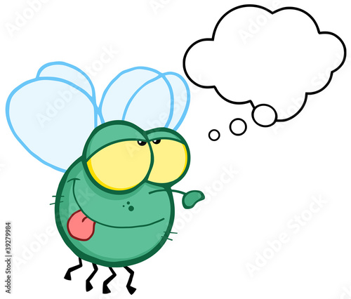 Green Fly Flying With Speech Bubble