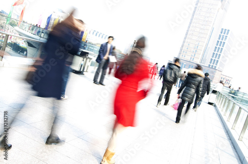 Piétons, effet de mouvement - Shanghai - Chine