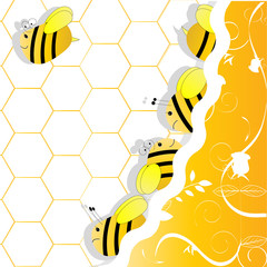 a swarm of bees in honeycombs