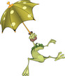 Frog with an umbrella. Cartoon