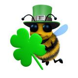 3d Bee dressed as a leprechaun with shamrock