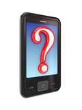 Modern mobile phone with a query sign. poster