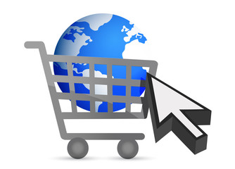 shopping cart globe and cursor illustration design