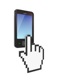 Modern mobile phone and large cursor. poster