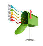 Opened green postbox and colorful patchcords. poster