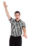 Teen basketball referee giving violation sign poster
