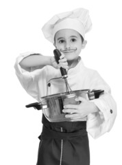 Little chef with kitchen utensil cooking