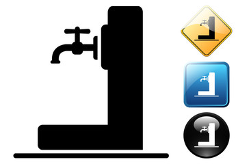 Drinking water pictogram and signs