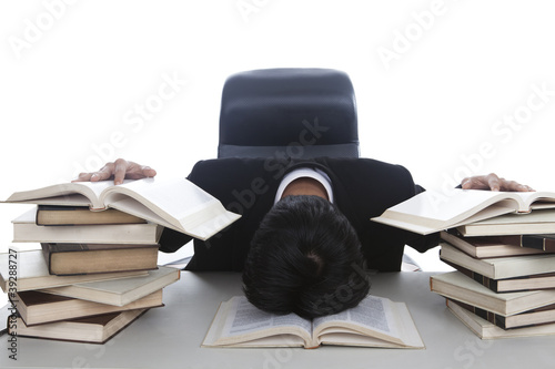 Exhausted businessman working