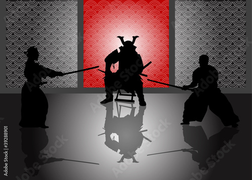 A stock Vector illustration of a Japan Landlord watching duel