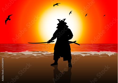 A stock Vector illustration of a Japan Landlord on Sunset Beach