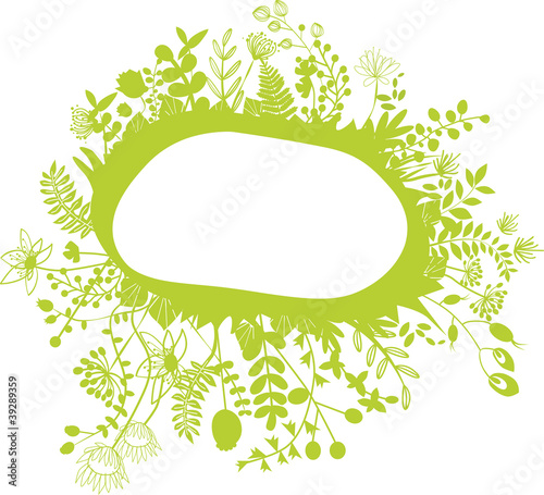 vector - green flower composition